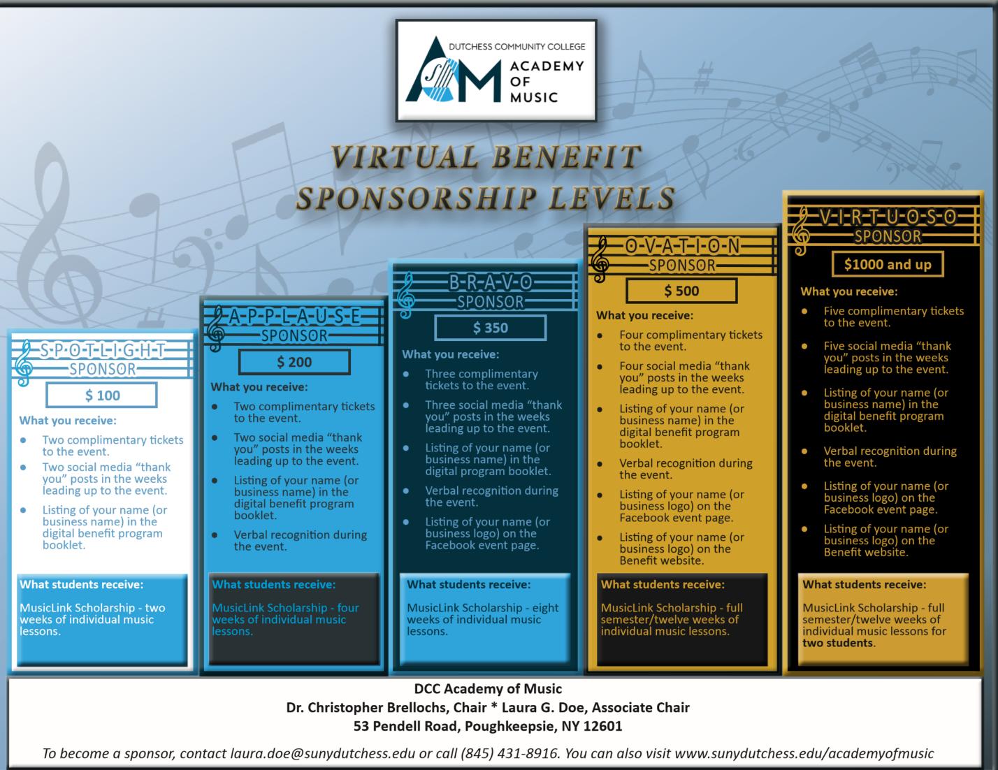 MusicLink Benefit Sponsor Levels